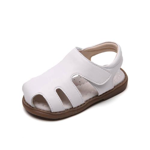 Toddler girls white closed leather sandal - single.
