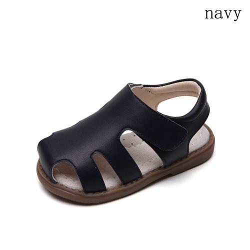 Toddler girls navy blue closed leather sandal - single.