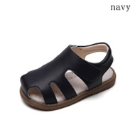 Toddler girls navy blue closed leather sandal - single.