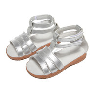 Girls Silver Roman Gladiator Leather Sandal