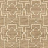 GE3657-Ashford House Geometrics Irongate Trellis Tan Wallpaper