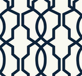 GE3664-Ashford Geometrics Hourglass Trellis Wallpaper in White and Midnight Blue