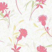 WB5403 - Ashford House Botanical Fantasy Open Floral Wallpaper in Pink and Yellow