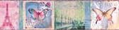 BBC46401B Worldly Pink Bon Voyage Butterflies Border