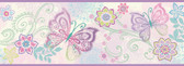 BBC46452B Fantasia Purple Boho Butterflies Scroll Border