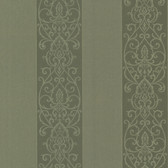 Bradford Arbella Damask Swirl Stripe Seaweed Wallpaper 492-2103