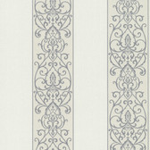 Bradford Arbella Damask Swirl Stripe Ivory-Grey Wallpaper 492-2104