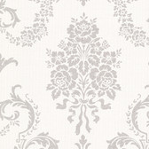 Buckingham Chambers Floral Damask Alabaster Wallpaper 495-69002