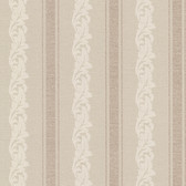 Buckingham Rennie Scrolling Stripe Beige Wallpaper 495-69049