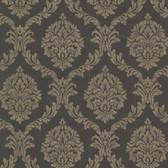Buckingham Tennyson Shimmer Damask Hickory Wallpaper 495-69060