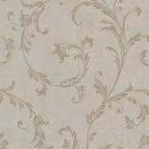 Buckingham Milton Shimmer Scroll Taupe Wallpaper 495-69064