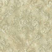 Carleton Textured Scroll Sage Wallpaper 292-80007
