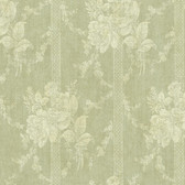 Carleton Floral Bouquet Stripe Olive Wallpaper 292-80104