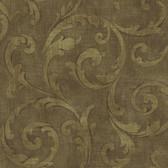 Carleton Large Scroll Coffee Wallpaper 292-81506