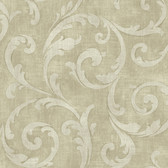 Carleton Large Scroll Sage Wallpaper 292-81507