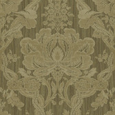 Carleton Damask Walnut Wallpaper 292-81606
