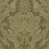 Carleton Damask Walnut Wallpaper 292-81606