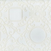 Contemporary Flock Framed Cameo Damask White Wallpaper 302040