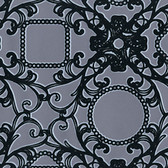 Contemporary Flock Framed Cameo Damask Black-Pewter Wallpaper 302042