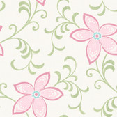 Contemporary Christel Khloe Girly Floral Scroll Wallpaper in Green and Pink CHR11637