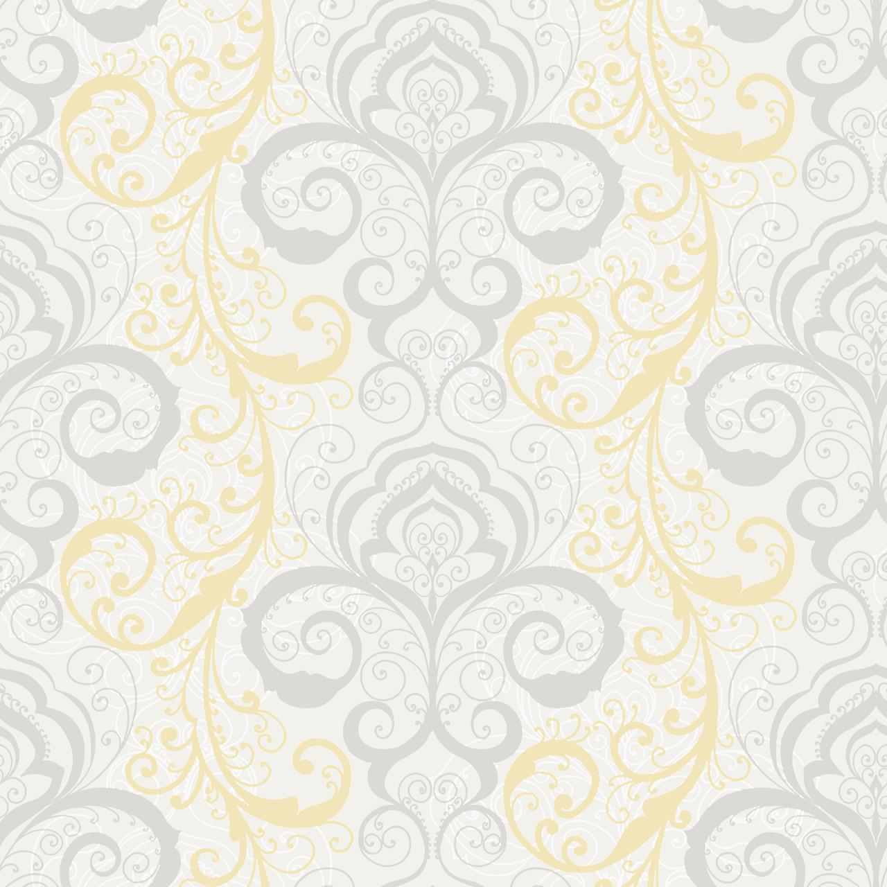 Contemporary Christel Vanessa Henna Brocade Wallpaper In Grey And