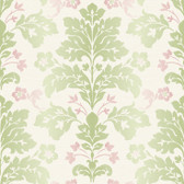 Contemporary Christel Camila Modern Damask Wallpaper in Pear Green and Pink CHR11651