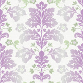 Contemporary Christel Camila Modern Damask Wallpaper in Lilac and Green CHR116510