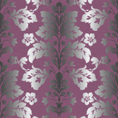 Contemporary Christel Camila Modern Damask Wallpaper in Magenta and Silver CHR116511