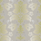 Contemporary Christel Camila Modern Damask Wallpaper in Pickle Green and Fossil Grey CHR11654