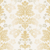 Contemporary Christel Camila Modern Damask Wallpaper in Gold and White CHR11656