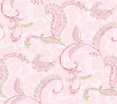 Contemporary Christel Riley Paisley Scroll Wallpaper in Pink and Green CHR11691
