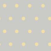 Contemporary Christel Kenley Polka Dots Grey-Yellow Wallpaper CHR11714