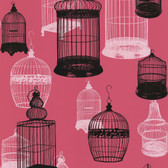 Zinc Avian Bird Cages Punch Wallpaper 450-67329