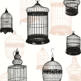 Zinc Avian Bird Cages Midnight Wallpaper 450-67330