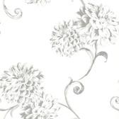 Zinc Deliah Watercolor Dahlia Frost Wallpaper 450-67354