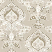 Zinc Ashbury Paisley Damask Bone-Snow Wallpaper 450-67364