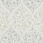Zinc Adelaide Ogee Floral Slate Wallpaper 450-67386