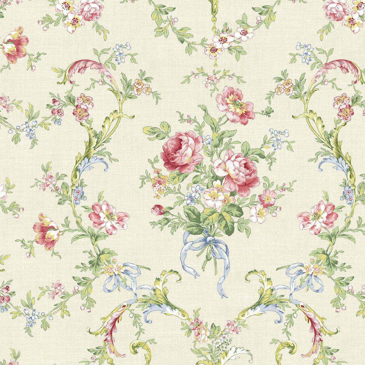 291 70202 Light Green Floral Bouquet Wallpaper Indoorwallpaper Com