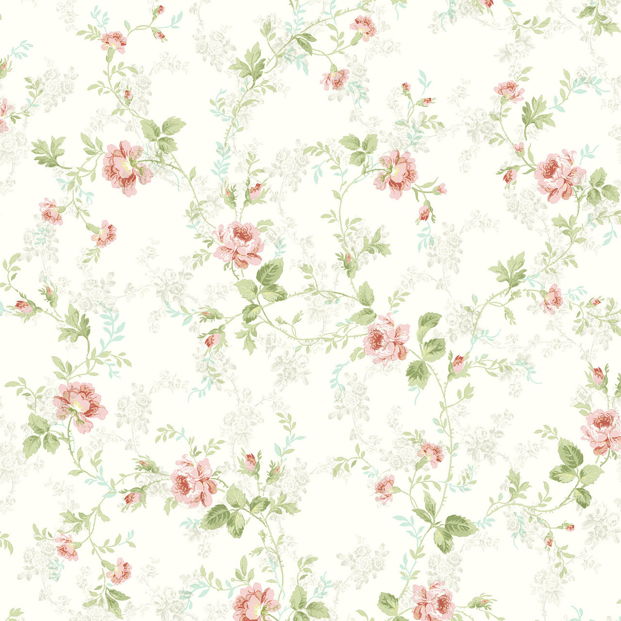 291 70603 Light Blue Mid Floral Trail Wallpaper Indoorwallpaper Com