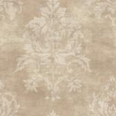 VIR98207 - Asha Sand Lotus Damask Wallpaper