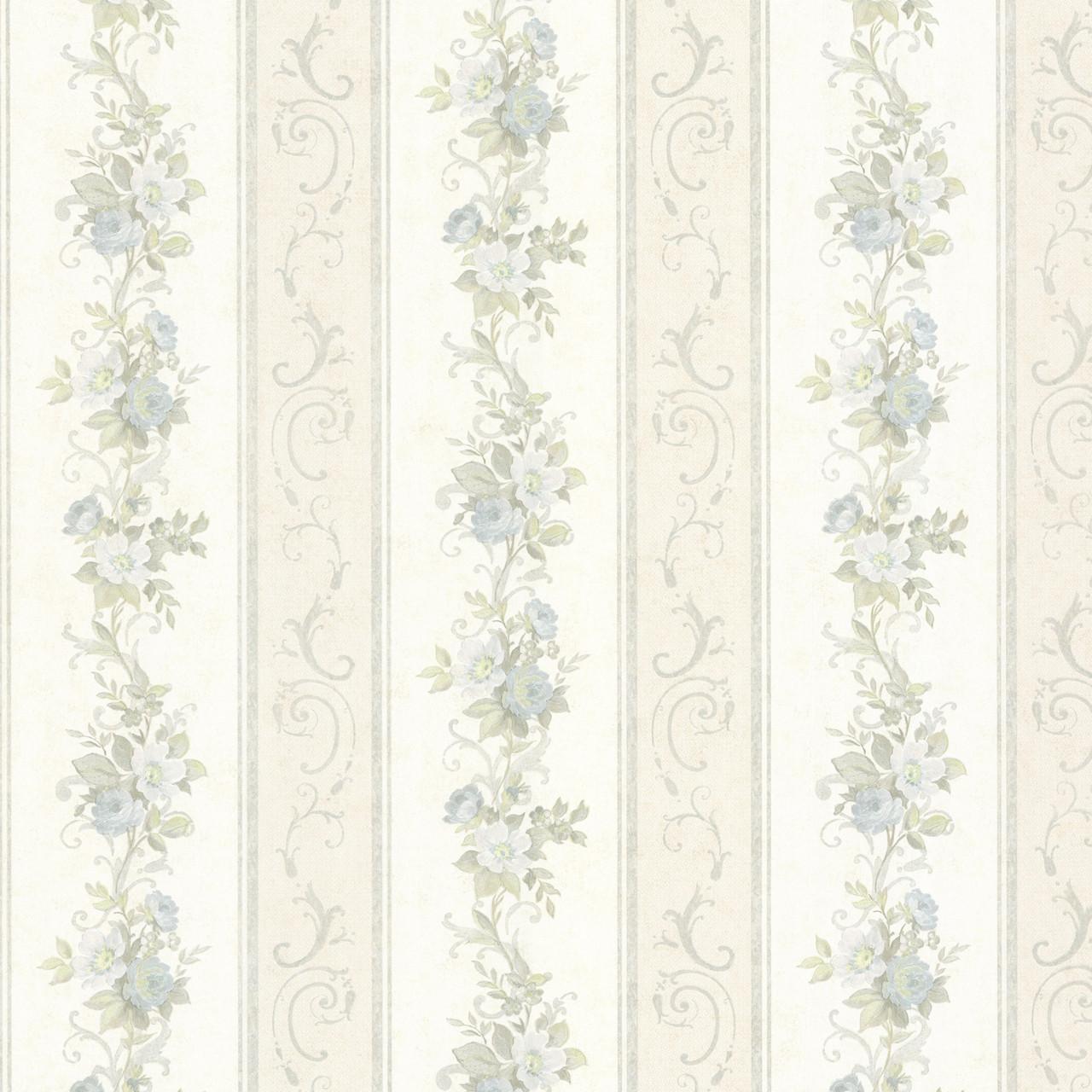 992 68301 Lorelai Light Blue Floral Stripe Wallpaper