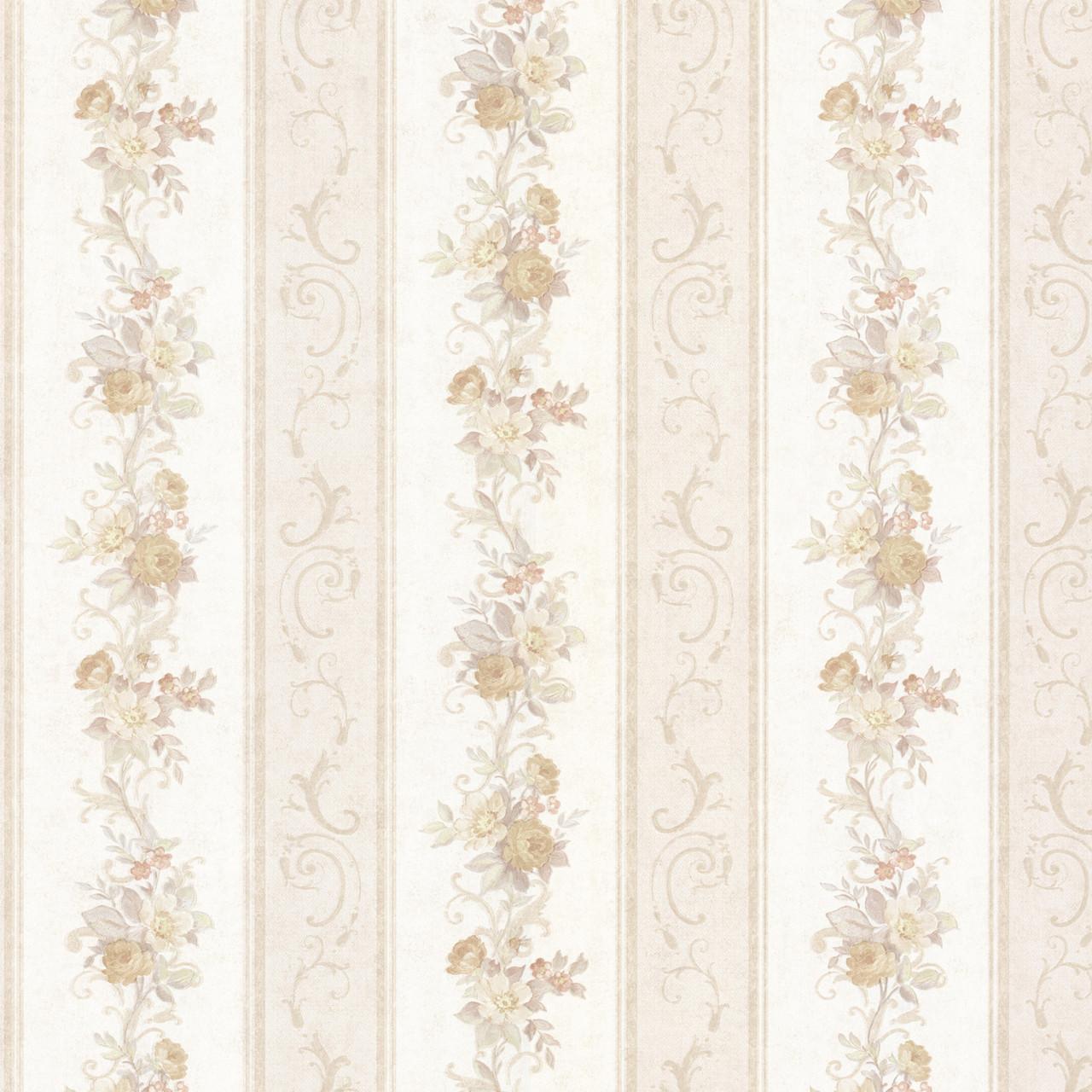 992 68302 Lorelai Taupe Floral Stripe Wallpaper Indoorwallpaper Com