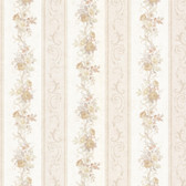 992-68302-Lorelai Taupe Floral Stripe wallpaper