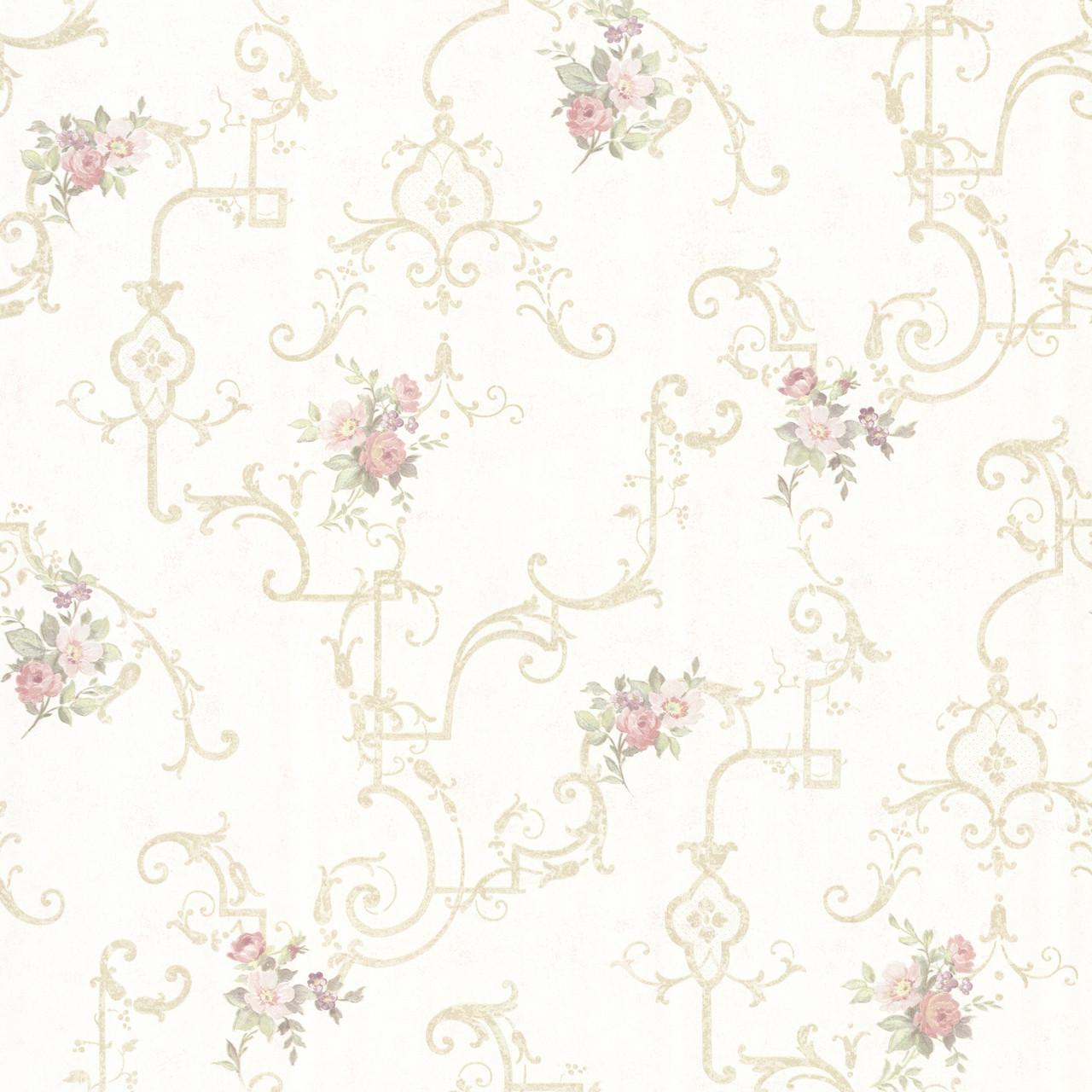 992 68308 Lori Light Green Floral Trellis Wallpaper