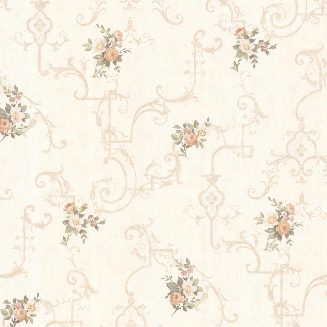 992 68309 Lori Peach Floral Trellis Wallpaper Indoorwallpaper Com