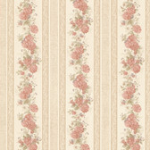 992-68316-Tasha Peach Satin Floral Scroll Stripe wallpaper