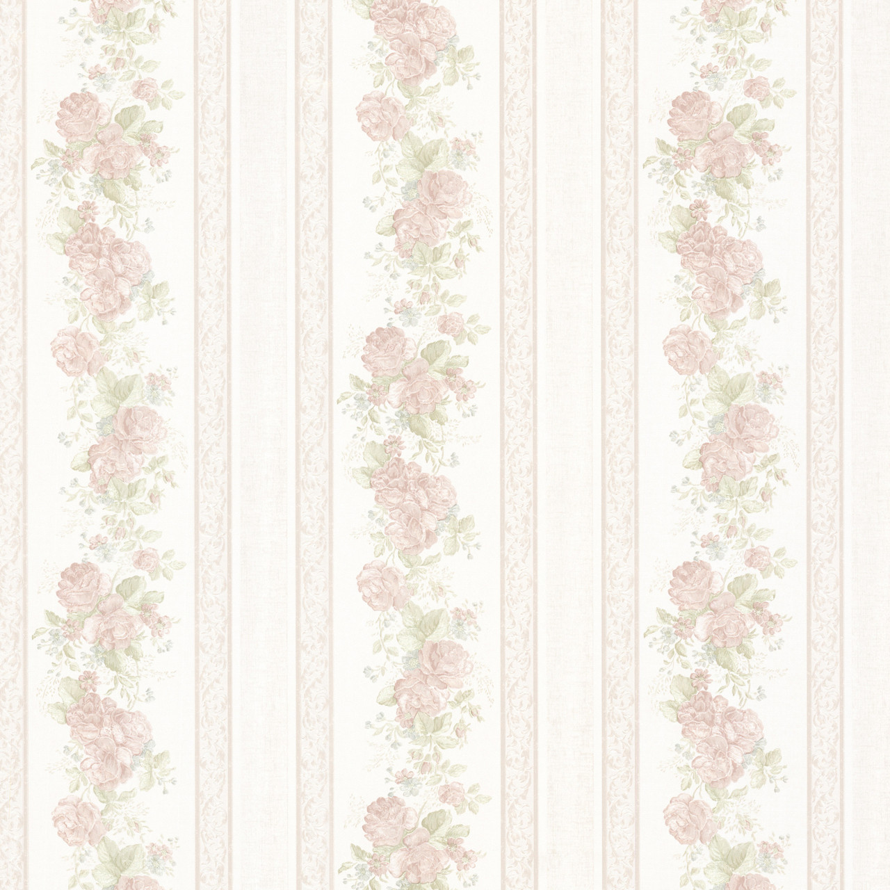 992 68317 Tasha Pastel Satin Floral Scroll Stripe Wallpaper