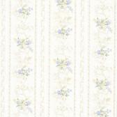 992-68336-Maury Light Blue Floral Bouquet Stripe wallpaper