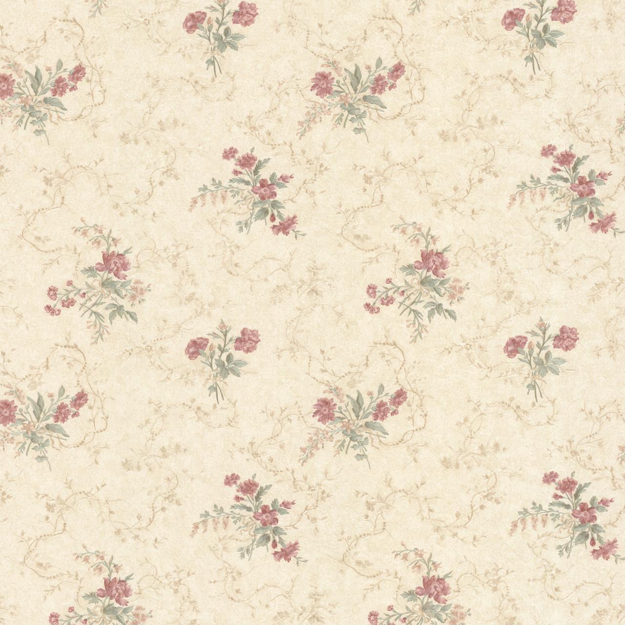 992 68339 Marie Salmon Delicate Floral Bouquet Wallpaper
