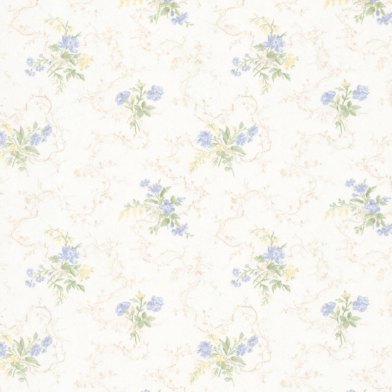 992 68341 Marie Light Blue Delicate Floral Bouquet Wallpaper